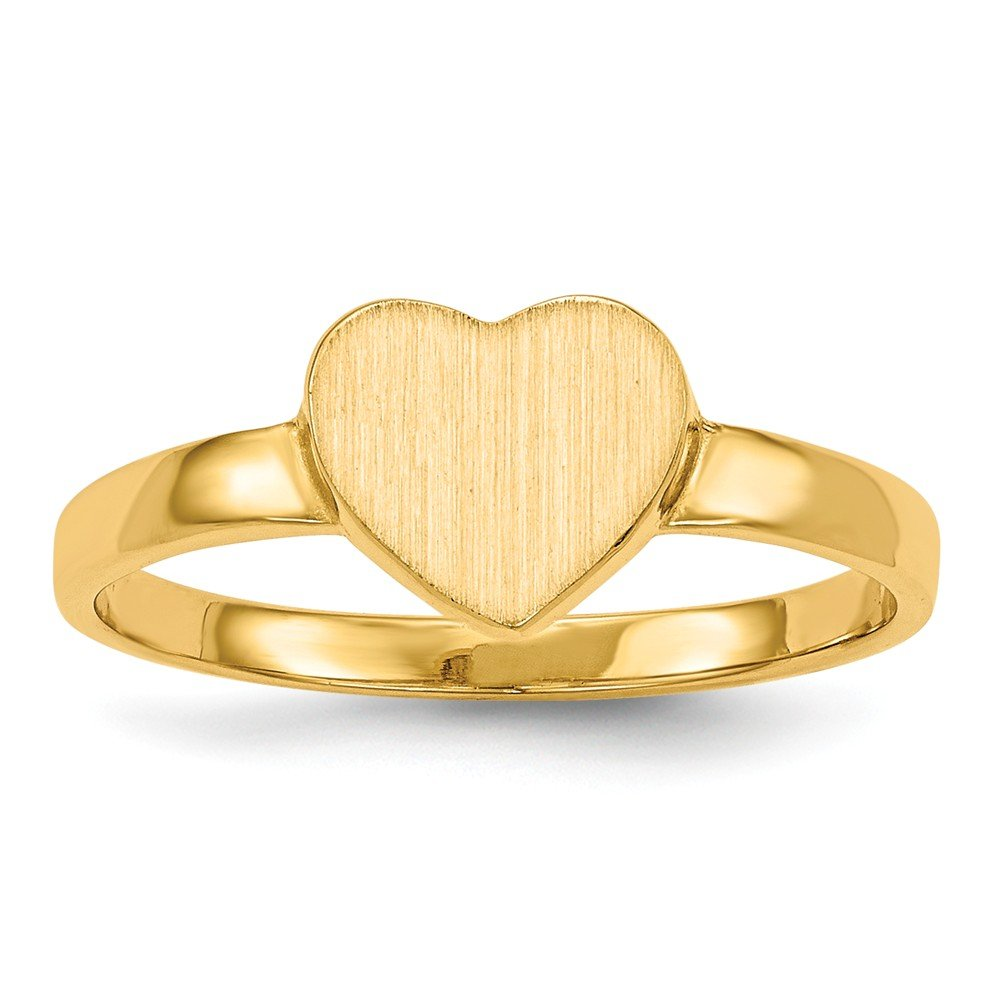 14k Yellow Gold 6.5x7.5mm Heart Signet Band Ring Size 6.00 Fine Jewelry Gifts For Women For Her by ICE CARATS