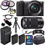 Sony Alpha a5100 Mirrorless Digital Camera with 16-50mm Lens (Black) + Sony E 55-210mm f/4.5-6.3 OSS E-Mount Lens 64GB Bundle 24 - International Version (No Warranty)