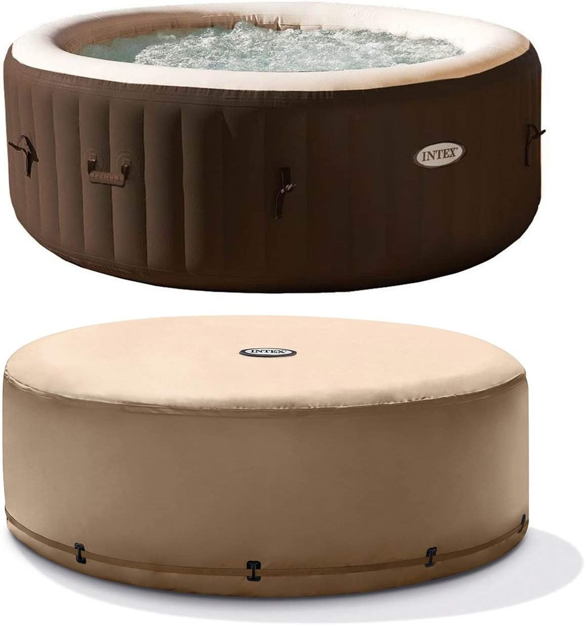 Intex PureSpa Bubble Massage 4 Person Inflatable Hot Tub Spa with Soothing Jets and Replacement Cover