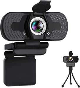 Webcam,1080P HD 110-Degree View Angle Webcam with Microphone,Noise Cancelling Webcam with Privacy Cover,Holder,Plug & Play Camera,USB PC Webcam for Video Conference/Gaming/Online Work/Home Office/Zoom