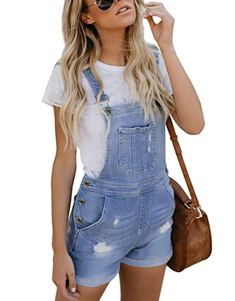 more photos 8866e 11913 Happy Sailed Damen Kurz Jeanslatzhose Denim Overall Jumpsuit Playsuit Jeans  Hosenanzug Romper S-XXL