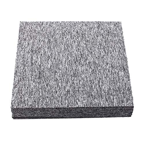 Nisorpa Heavy Duty Carpet Floor Tiles 20x20 inch Light Grey 20pcs Commercial Carpet Tile 50X50CM Carpet Squares Bitumen Backed