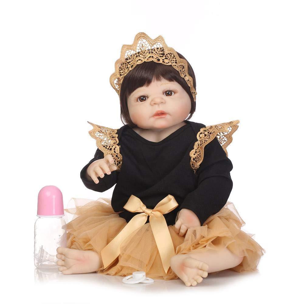 Hongge Reborn Baby Doll,Vollen weichem Silikon lebensechte Reborn Puppe lebensecht Neugeborenen Babypuppe Kinder Spielzeug Weihnachten Geburtstag 55cm