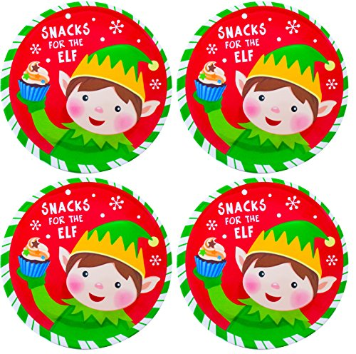 Christmas Childrens Plates 4 Santa and Elf Melamine Holiday Plates -Red and Green - Great Xmas Gift for Kids (Elf)