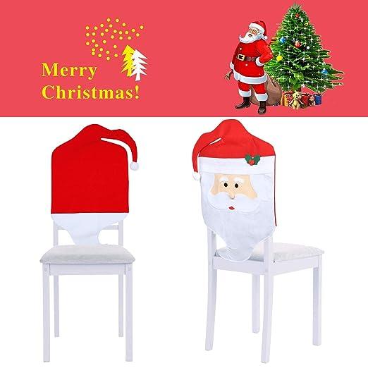 Mbuynow Fundas Decorativas navideños para sillas con Respaldo para la Cena y Fiesta de Nochebuena - 2 Piezas
