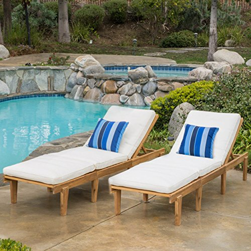 - Paolo | Outdoor Acacia Wood Chaise Lounge with Cushion | Set of 2 | in Teak Finish/Ivory