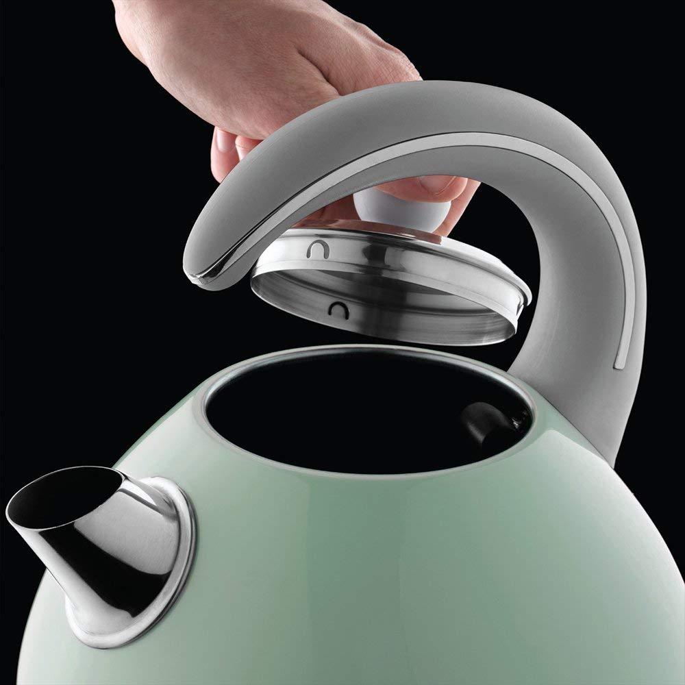 Hervidor Bubble de acero inoxidable con detalles en verde pastel Russell Hobbs 24404-70
