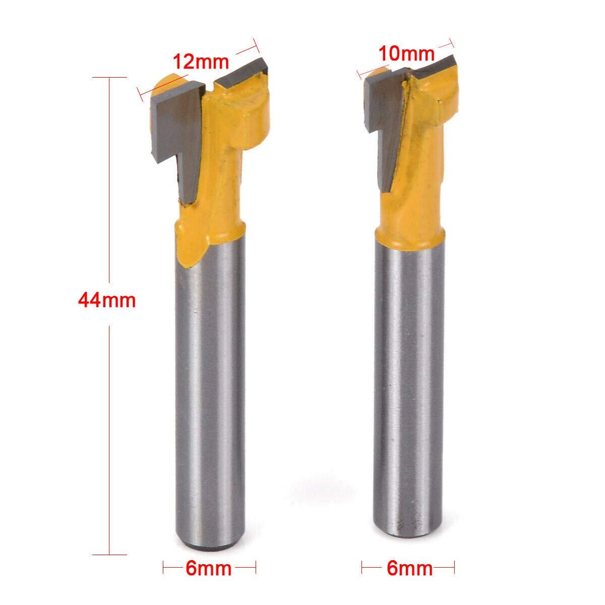 """2pcs Yellow T-Slot Cutter Router Bit for 3//8/"""" 1//2/"""" Hex Bolt 1//4/"""" Shank"""