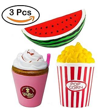ZhengYue Squishy Kawaii Grandes Baratos Juguete Niños Squeeze Popcorn Sandía Café Squishy Slow Rising Pack Descompresión Juguetes Compresivos: Amazon.es: ...