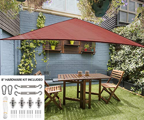12' Triangle Sun Shade Sail Canopy in Mahogany - Durable Outdoor Patio Cover Pergola Awning Sun Shade - Heavy Duty 8 inch Stainless Steel Hardware Kit (12' Triangle, Mahogany)