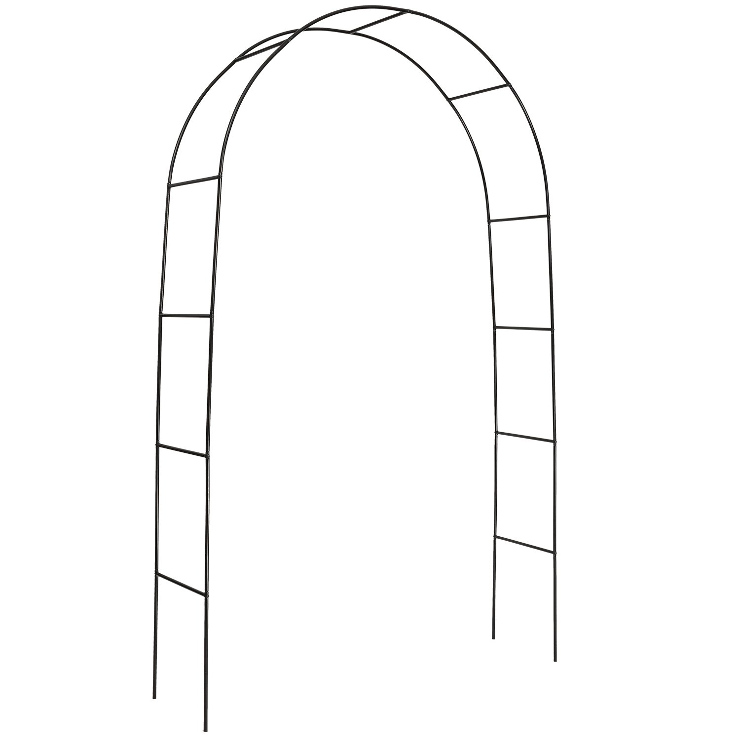 DOEWORKS Metal Black Garden Arch with Round Top, 7'9'' High x 4'7''Wide