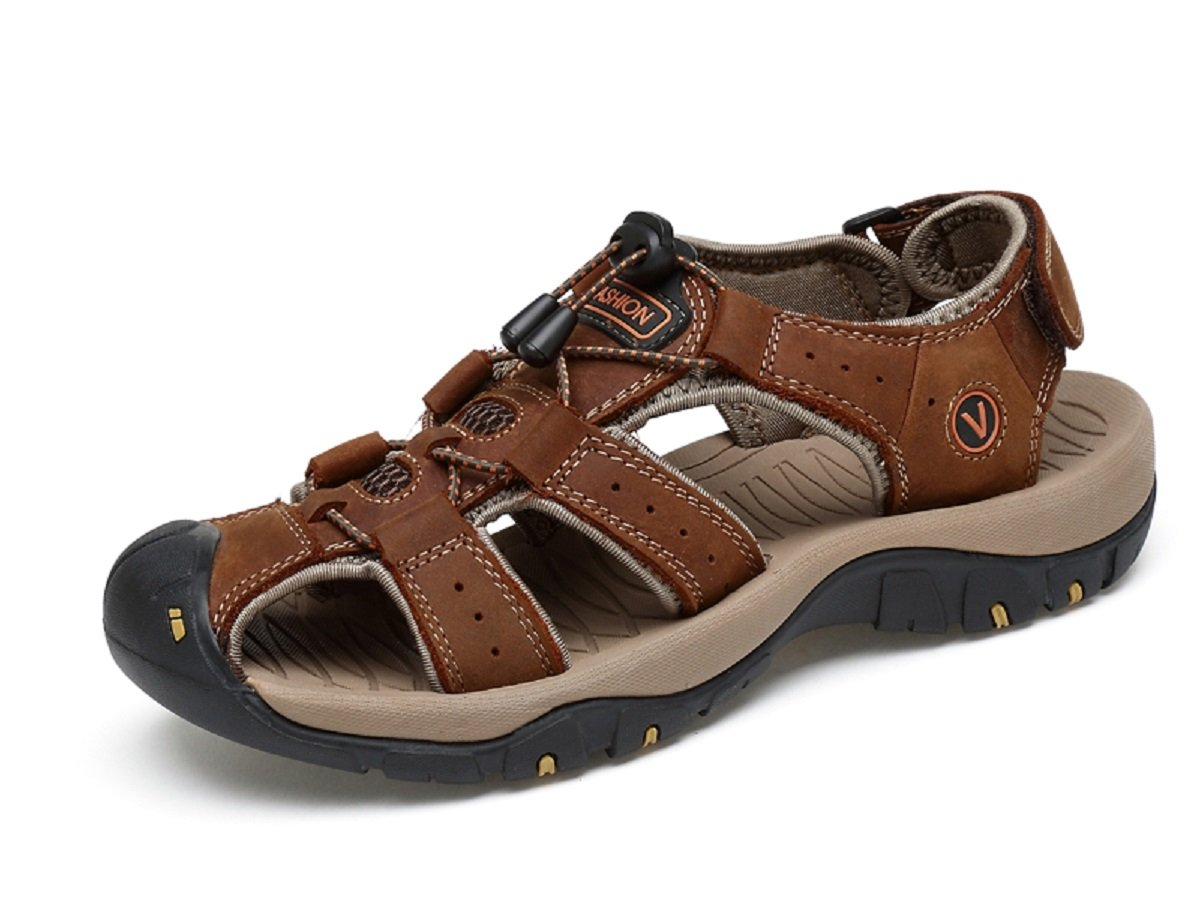 Beeagle Mens Leather Outdoor Sports Hiking Sandals Trekking Lightweight Athletic Fisherman Beach Shoes Brown 45