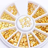 3D Matte Gold Rivet Nail Studs Metal Nail Art Decoration Square Triangle Mixed Accessories In Wheel
