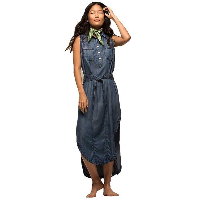 b5eae53fd8d70a JACHS New York Womens Denim Sleeveless Half Placket Shirt Dress Dark ...