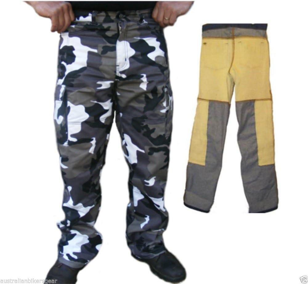 Style Cargo EU 40 Long Pantalon de Moto en Kevlar Camouflage Gris Bikers Gear Renforts CE