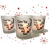 Valentine Day Candles - I Love You to the Moon & Back Frosted Glass Votive Holders - Red Hearts & Silver Moon - Set of 3 Assorted - Three Flameless Flickering LED Candles Included