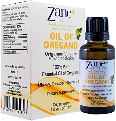 Zane Hellas 100 Undiluted Oregano Oil. Pure Greek Essential Oil of Oregano .86 Min Carvacrol. 129 mg Carvacrol Per Serving. Probably The Best Oregano Oil in The World. 1 fl. oz.- 30ml.