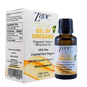 Zane Hellas 100% Undiluted Oregano Oil. Pure Greek Wild Essential Oil of Oregano .86% Min Carvacrol. 129 mg Carvacrol Per Serving. Probably The Best Oregano Oil in The World. 1 fl. oz.- 30ml.