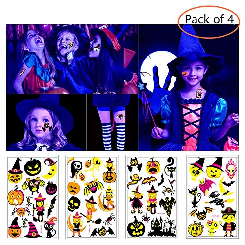 BlueSpace Cool Temporary Tattoos for Women Men Kids Halloween Party Body Tattoo Stickers 4 Sheets Glitter Waterproof Colorful Tattoo Halloween Supplies Arm Leg Accessories (Pumpkin Spider Bat) -