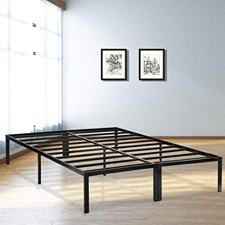 Queen Size Steel Bed Frame Black Bedroom Mattress Foundation Under Bed Storage