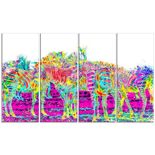 Wall Zebra Metal (Designart Rainbow Zebras-Animal Metal Wall Art-MT2364-48x28-4 Panels, 28'' Hx48'' Wx1'' D 4P)