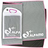 wwww Balhvit Cooling Towel Evaporative Chilly Towel For Yoga Golf Travel-Gray/Pink-Large (47x14-Inch)