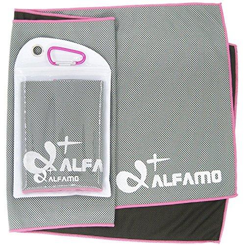 wwww Balhvit Cooling Towel Evaporative Chilly Towel For Yoga Golf Travel- Gray/Pink-Medium (40x12-Inch) by wwww