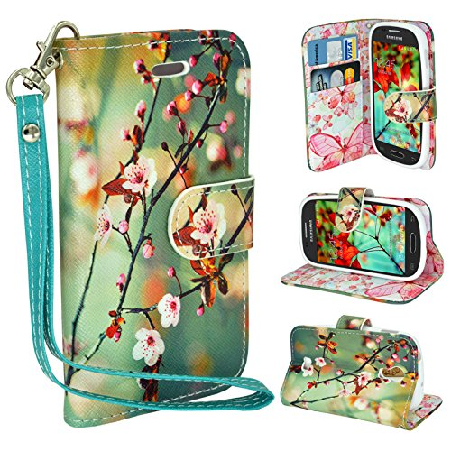 Samsung Galaxy S3 Book Style Folio PU Leather Wallet with Magnet Design Flip Case Cover, Credit Card Holder For Galaxy S3 i9300 (Blossom Green) ()