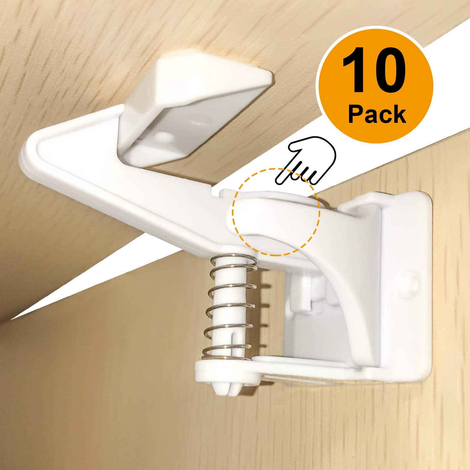 Cabinet Locks Child Safety, 3M Adhesive Spring Loaded Latches for Baby Safety, Easy Installation, No Tools or Drills Needed, Invisible Design with Buckles Fit Most Cabinets, Drawers and Closets
