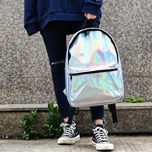 Bolsos de hombro de la escuela de la plata del laser de la moda de las mujeres mochila del viaje de la mochila