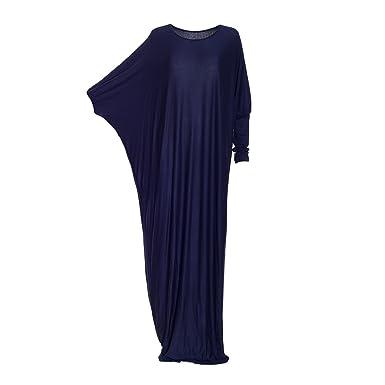 cea3c366eb7 Womens Islamic Modest Batwing Plain Colourful Abaya Kaftan Jilbab Jersey  Maxi Long Dress Jersy Hijaab Maxi (Navy)  Amazon.co.uk  Clothing