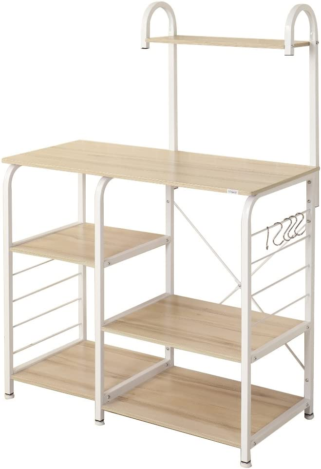 SogesHome 4-Tier Kitchen Baker's Rack Utility Microwave Oven Stand Storage Cart Workstation Shelf,White Oak 172-MO-SH