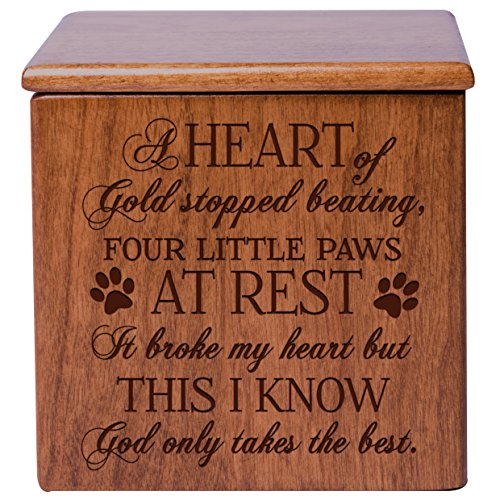 Cremation Urns for Pets SMALL Memorial Keepsake box for Dogs and Cats, Urn for pet ashes A heart of gold stopped beating four little paws at rest Holds SMALL portion of ashes (Cherry) ()