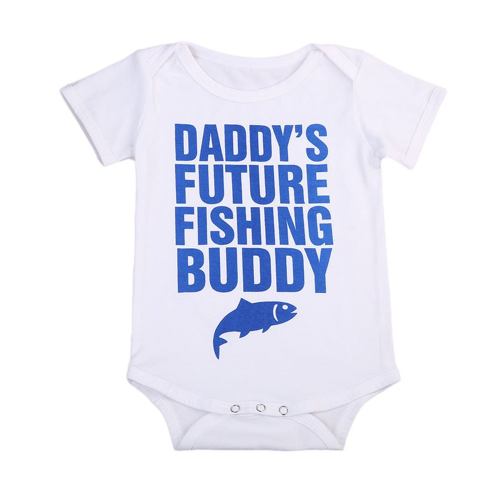 Funny Baby Girl Boy Daddy's Fishing Bodysuit Short Sleeve Romper