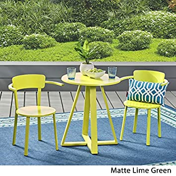 Great Deal Furniture 304876 Kate Outdoor Iron Bistro Set, Matte Lime Green