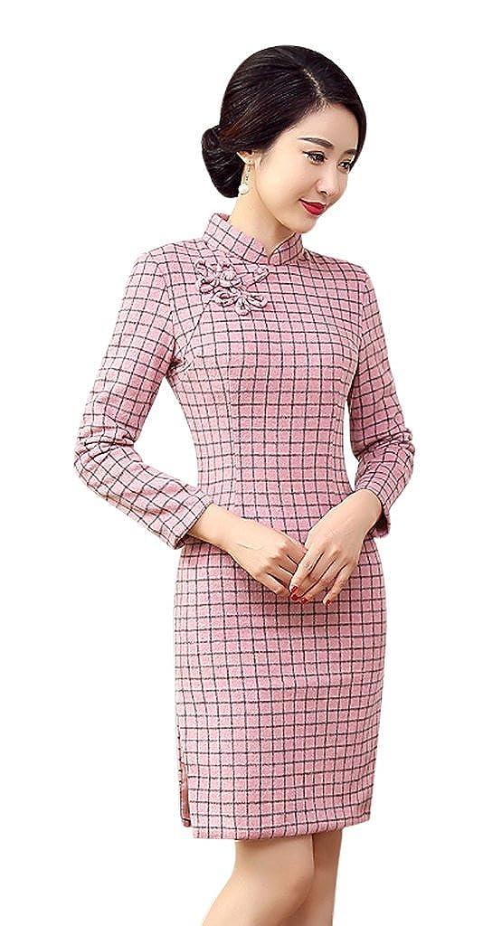 Seacolor Damen Blumen Rosa Weiß Chinesisch Cheongsam Qipao Kleid Winter Feder Dress