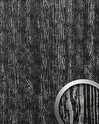 Pannello Per Interni Effetto Legno Nero Argento Wallface 14806 Wood