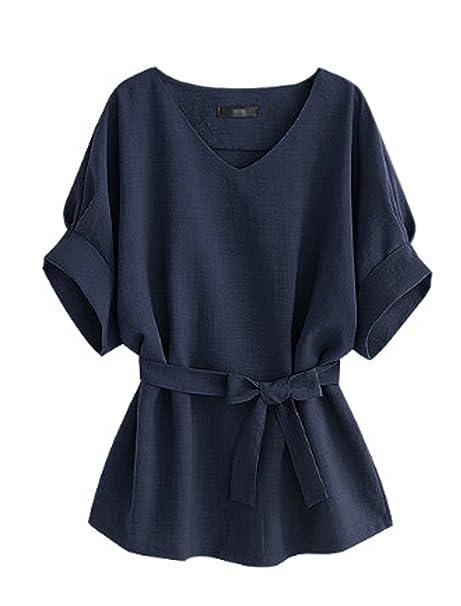 Verano Mujeres Moda Cuello V Murciélago Mangas Camisas Tops Blusa con Vendaje Casual Colores Lisos Remata