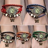 Ubesta Women Leather Wrist Watch Bracelet Retro Butterfly Pendant Weave Wrap Quartz-Black by Ubesta
