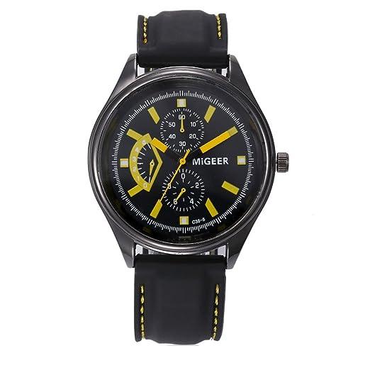 Kinlene Relojes de Hombre -Reloj de moda Hombres Acero Inoxidable Negocios Casual hombres Reloje (Amarillo): Amazon.es: Relojes