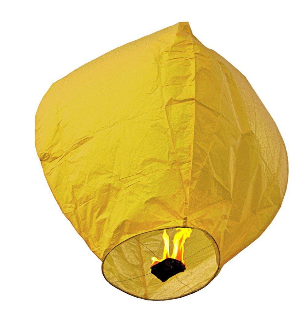 Rainbow Love 20 Pack Chinese Sky Lanterns Wish Balloon Wishing Lamp Wishing Light for Wedding Birthday Christmas Party (Yellow)