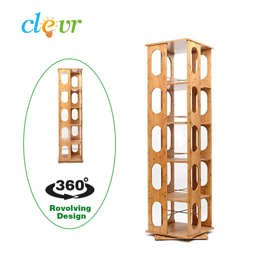 Clevr 5 Tier 57.5'' Natural Bamboo Bookshelf Revolving Bookcase,100% Natural Bamboo, 360 Rotating Organizer Cabinet Rack, Holds Up to 300 DVD's or books, spinning design, Removable adjustable divider