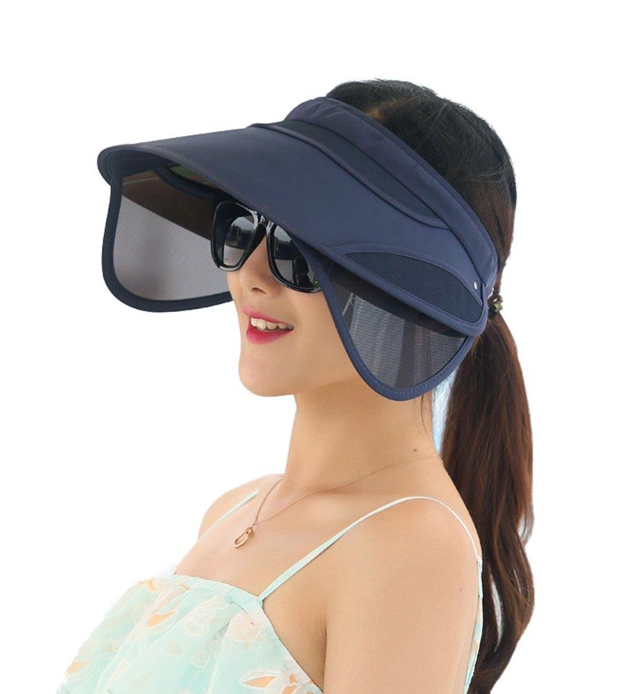Obosoyo Women's Beach Sun Visor Solid Wide Brim Summer Sun Hat with Retractable Visor