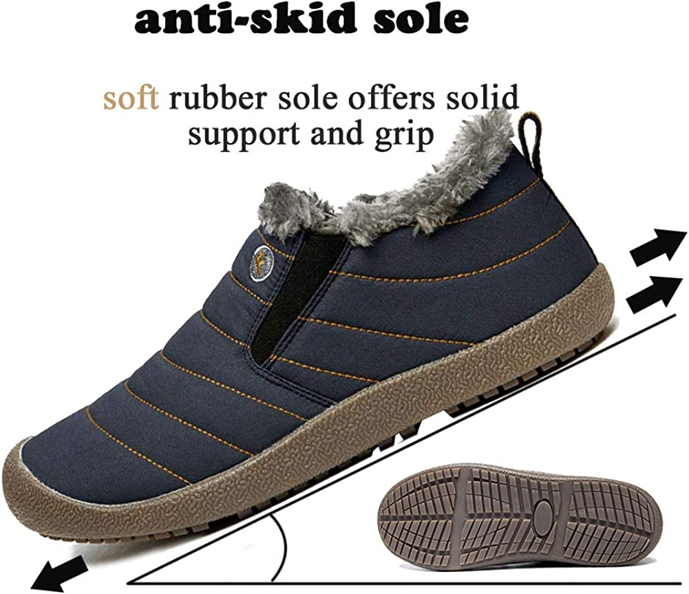 SITAILE Snow Boots Women Men Fur Lined Waterproof Winter Outdoor Slippers Slip On Ankle Snow Booties Sneakers