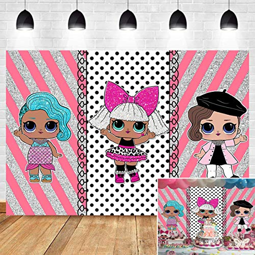 Pink Silver Stripe Polka Dots Photo Background Baby Shower Surprise Toddler Girl Toy Dolls Hot Sweet Pink Photography Backdrop Photo Booth 1st Birthday Party Cake Table Decoration Banner Vinyl 7x5ft