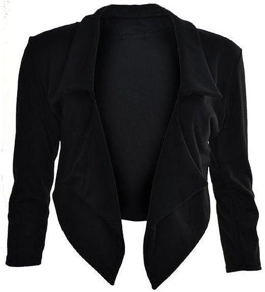 Womens Full Sleeve Tie Knot Belt Waterfall Italian Cape Jacket Cardigan Blazer