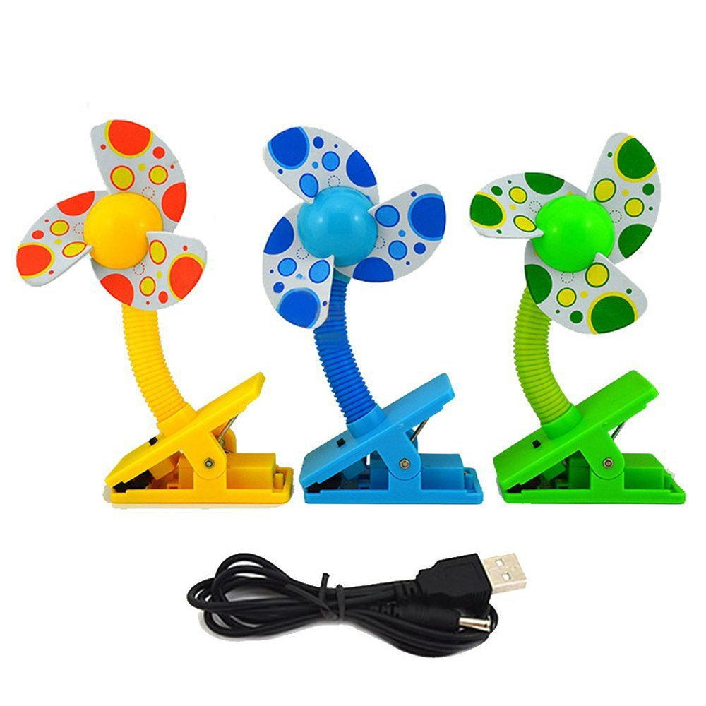 Aenmil® High Quality Mini Baby Stroller Clip-on Fan Play Gyms Mini Clip-on Fan Multi Color Plastic Clip-on Stroller Fan Safe For Infant Great for Baby Stroller, Baby Cots, Playpens, Desks, in the Car and etc.(Color in Random) by Aenmil®