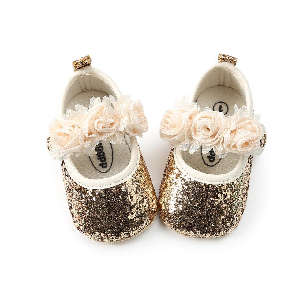 Bébé Fille Chaussures de Automne avec Bowknot Bandeau Cadeau Ensemble pour Anniversaire Bambin Fille Fleur Paillette Semelle Souple Anti-dérapant Princesse Chaussures