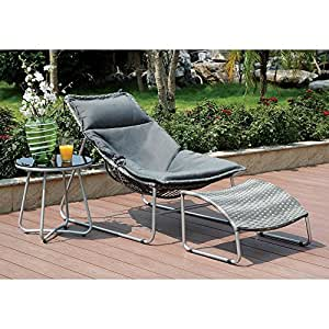 Petyward Chair, Ottoman & Side Table in Grey Wicker - Outdoor Patio