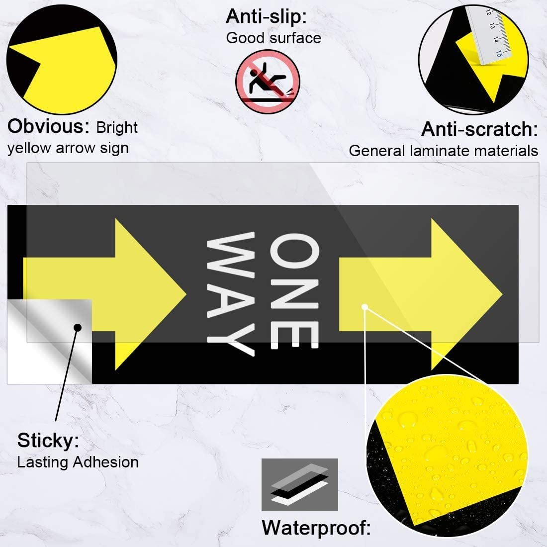 One Way Social Distance Floor Stickers Decals,6x18 inch Waterproof Vinyl Safety Distance Floor Sign Markers Commercial Grade Material 15Pack Directional Floor Arrow Stickers Decals
